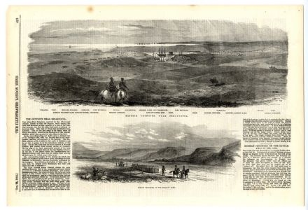 1854 Print VIEWS NEAR SEBASTOPOL AND ALMA Fort Severnia Fort COSSACKS Antique